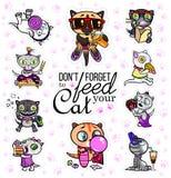 Vetor ajustado com etiquetas do gato Animais de estimação com fome Emoji para bate-papos Foto de Stock