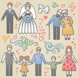 Vetor ajustado com famílias felizes. ilustração stock