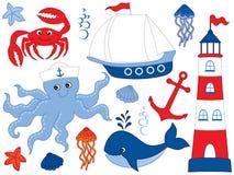 Vetor ajustado com Marine Animals e objetos ilustração stock
