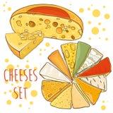 Vetor ajustado com queijos Coleção do queijo Fotos de Stock