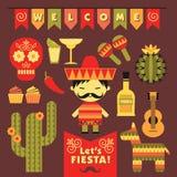 Vetor ajustado com símbolos mexicanos tradicionais Imagem de Stock Royalty Free
