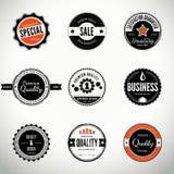 Vetor ajustado com selos e emblemas redondos Fotografia de Stock