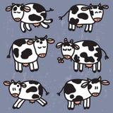 Vetor ajustado com vacas bonitos EPS10 Imagem de Stock
