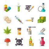 Vetor ajustado ícones das drogas Fotos de Stock Royalty Free