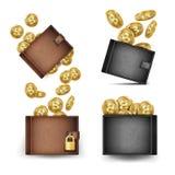 Vetor ajustado da carteira de Bitcoin Moedas de ouro de Bitcoin 3d realístico Brown e carteira preta de Bitcoin Dinheiro Front Si Imagens de Stock