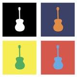 Vetor ajustado da guitarra colorida Imagem de Stock