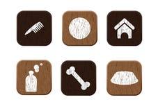 Vetor ajustado da loja de animal de estimação ícones de madeira Fotografia de Stock