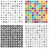 100 vetor ajustado da microbiologia ícones variante ilustração stock