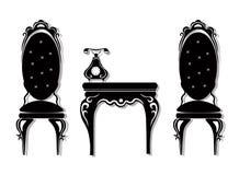 Vetor ajustado da mobília preta do vintage Coleção cinzelada ricos da mobília dos ornamento Estilo vitoriano do vetor Fotografia de Stock Royalty Free