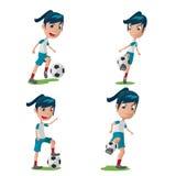 Vetor ajustado da pose do caráter do jogador de futebol da mulher Fotos de Stock Royalty Free