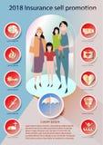 Vetor ajustado da propaganda da venda do ícone do seguro estilo de papel da arte ilustração stock
