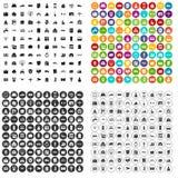 100 vetor ajustado da propriedade ícones variante ilustração do vetor