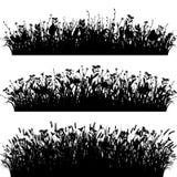 Vetor ajustado da silhueta das beiras da grama Imagem de Stock Royalty Free