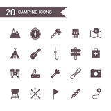 Vetor ajustado de acampamento do ícone Ícones da silhueta Fotografia de Stock