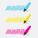 Vetor ajustado de três highlighteres Imagem de Stock