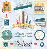 Vetor ajustado: De volta às etiquetas e aos ícones da escola ilustração do vetor