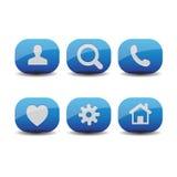 Vetor ajustado do ícone azul Imagens de Stock Royalty Free