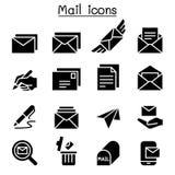 Vetor ajustado do ícone do correio Imagens de Stock Royalty Free