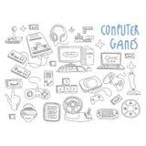 Vetor ajustado do ícone das garatujas dos jogos de computador Fotografia de Stock