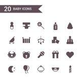 Vetor ajustado do ícone do bebê Ícones da silhueta ilustração royalty free