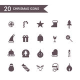 Vetor ajustado do ícone do Natal Ícones da silhueta Fotografia de Stock Royalty Free