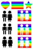 Vetor ajustado do ícone dos pares do arco-íris Imagens de Stock