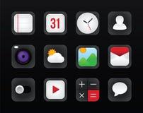 Vetor ajustado do ícone para a relação móvel no fundo preto Fotografia de Stock Royalty Free