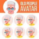 Vetor ajustado do Avatar do ancião Enfrente emoções Person Portrait superior Pessoas adultas envelhecido Liso, retrato caucasiano ilustração royalty free