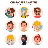 Vetor ajustado do Avatar dos povos do caráter Cara, emoções Coleção do Placeholder do Avatar do defeito Desenhos animados, Art Fl ilustração do vetor