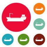 Vetor ajustado do círculo dos ícones do frete do navio ilustração stock