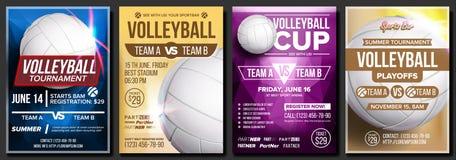 Vetor ajustado do cartaz do voleibol Projeto para o café, bar, promoção da barra de esporte Bola do voleibol Competiam moderno ve ilustração do vetor