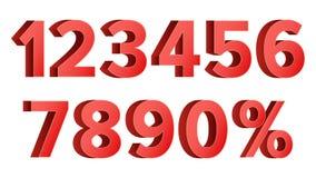 Vetor ajustado do disconto números vermelhos Figuras de 0 a 9 Sinal dos por cento Ilustração Stock