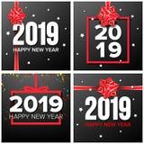 Vetor ajustado do fundo do ano 2019 novo feliz Sinal dos números 2019 Confetes, curva vermelha Folheto moderno do Natal seasonal ilustração royalty free