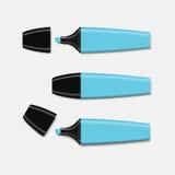 Vetor ajustado do highlighter azul Imagem de Stock Royalty Free