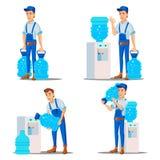 Vetor ajustado do homem do serviço de entrega da água tratamento Bebida do escritório em umas garrafas plásticas Arrendamento do  ilustração royalty free