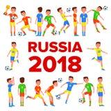 Vetor ajustado do jogador de futebol Campeonato do mundo 2018 de FIFA Evento de Rússia Poses dos jogadores de futebol Esfera de f ilustração do vetor