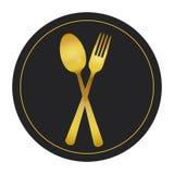Vetor ajustado do ouro de Logo Cutlery ilustração stock
