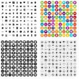 100 vetor ajustado do planeamento urbano ícones variante ilustração stock