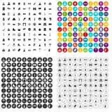 100 vetor ajustado do ponto de férias ícones variante ilustração stock
