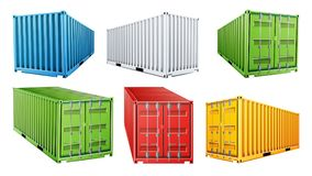 vetor ajustado do recipiente de carga do transporte 3D Azul, vermelho, verde, branco, amarelo Conceito do contentor do frete logí ilustração stock