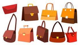Vetor ajustado do saco de couro Acessórios de forma retros do vintage da mulher Luxo da bolsa Ilustração isolada dos desenhos ani ilustração do vetor
