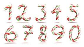 Vetor ajustado do sinal de números numerais 3D Figuras 1, 2, 3, 4, 5, 6, 7, 8, 9, 0 Cores do Natal Vermelho, listrado verde Fotografia de Stock Royalty Free