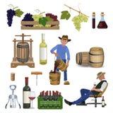 Vetor ajustado do vinho ilustração do vetor