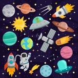 Vetor ajustado dos desenhos animados do espaço Foto de Stock