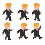 Vetor ajustado dos desenhos animados engraçados da caminhada da corrida do homem Ilustração do Vetor