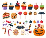 Vetor ajustado dos doces do partido de Dia das Bruxas ícones coloridos Imagens de Stock Royalty Free