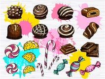 Vetor ajustado dos doces isolado Coleção colorida dos doces ilustração do vetor