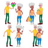 Vetor ajustado dos pares idosos Vovô com avó lifestyle Família idosa caráteres Cinzento-de cabelo Pares de ilustração stock