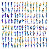 Vetor ajustado dos povos Homem, mulher Cores modernas do inclinação Poses diferentes dos povos Povos criativos Elemento do projet ilustração royalty free