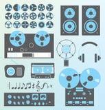 Vetor ajustado: Equipamento de gravação retro da música do estilo Imagem de Stock